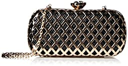 La Regale Metal Frame Minaudiere Clutch, Black/Gold, One Size
