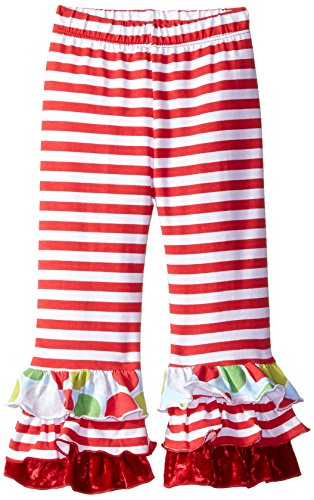 Flap Happy Baby Girls' Triple Ruffle Pant, Red Stripe, 18 Months