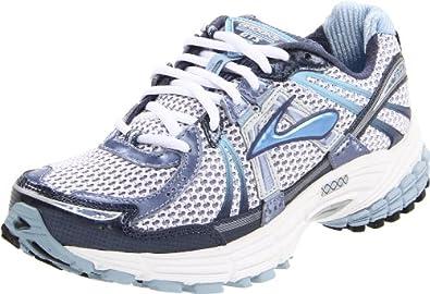 Brooks Women's Adrenaline GTS 12 Running Shoe,White/Night Shadow/Powder Blue/Stone Wash/Silver/Black,5.5 D US