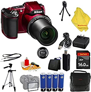 Nikon COOLPIX L840 Digital Camera with 38x Optical Zoom and Built-In Wi-Fi (Red) + Case + 16 GB Card + Reader + 6pc Starter Set + Tripod