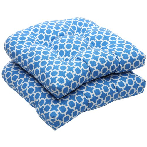 Pillow Perfect Indoor/Outdoor Blue/White Geometric Wicker Seat Cushions, 2-Pack image