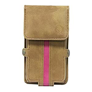 Jo Jo A6 Nillofer Series Leather Pouch Holster Case For Samsung Galaxy J1 (2016) Tan Pink
