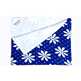 QUICK DRY- BABY BED PROTECTOR WATERPROOF SHEET SIZE-MIDIUM (FLOWER PRINT BLUE)