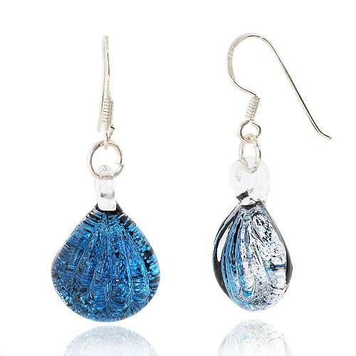 Sterling Silver Hand Blown Venetian Murano Glass Earrings Sea Shell Shaped, Ocean Blue Fashion Fashion Jewelry for Women, Teens, Girls