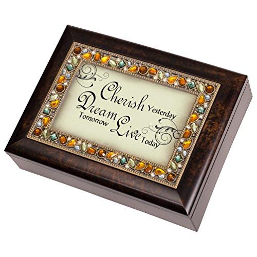 Cherish Dream Live Italian Style Burlwood Decorative Music Musical Jewelry Box - Plays What a Wonderful World