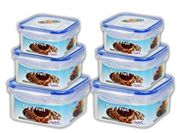 Zadoli Milan 300 ml,600 ml and 1200 ml Square food Container Set of 6