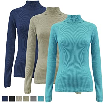 Oromiss Womens Ladies Bodycon Polo Neck Jumpers Ribbed Plain Stretch Basic Sweaters Tops