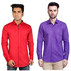 Nimegh Purple, Red Color Cotton Casual Slim fit Shirt For men's (Pack of 2)