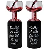 (Set of 2) Hilarious Wine Lovers Bottle w/Glass On Top - No Need To Refill