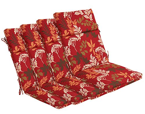 Bossima Indoor/Outdoor Red/Brown Floral High Back Chair