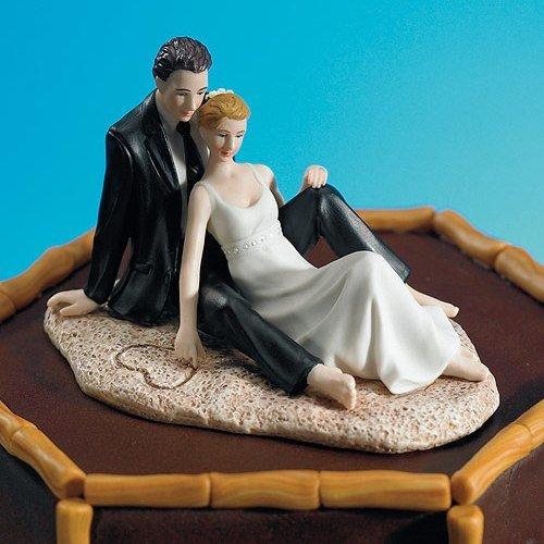 Romantic Wedding Couple Lounging on the Beach Figurine