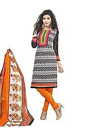Globalepartner Women Synthetic Dress Material (Black Orange White) (GEP-DC-52)