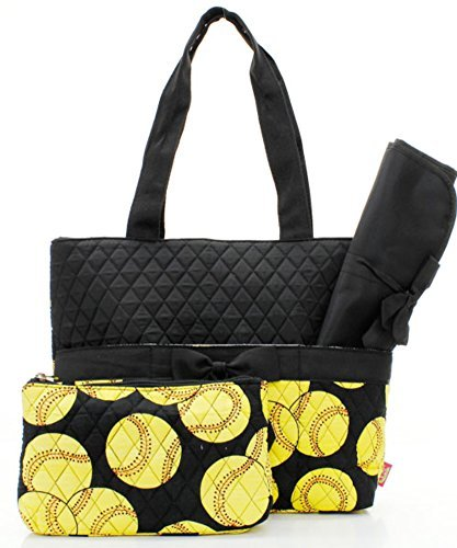 Quilted Black And Yellow Softball Sports Theme Print Monogrammable 3 Piece Diaper Bag With Changing Pad Tote Bag