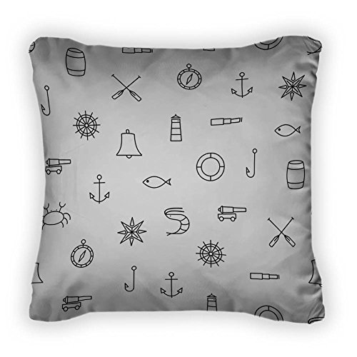 Gear New Ship & Sea Line Icons Pattern Throw Pillow,