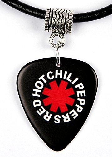 red-hot-chili-peppers-black-logo-plettro-per-chitarra-collana-plettro