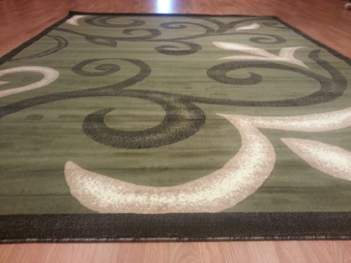 E525 Contemporary Modern Transitional Branch Leaves Design Green 5x8 Actual Size 5'3x7'2 Rug