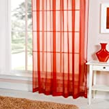 Emma Barclay Lucy Plain Voile Slot Top Curtain Panel, Red, 60 x 72 Inch