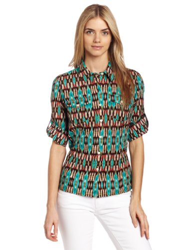Jones New York Women's Petite Fitted Ikat Roll-Up Elbow-Sleeve Shirt