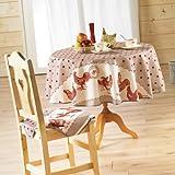 Couleur Montagne 3009231 Nappe tissu ronde 180 cm Belle époque poule rouge, 180 cm