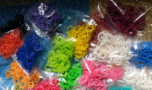 2100 Rainbow Loom Rubber Bands, 100 of All 21 Colors in 21 Bags