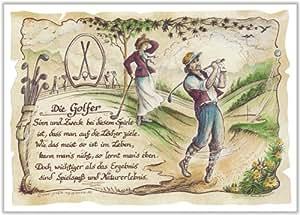 Gedicht Golf Golfer Golfspieler Zeichnung Color 20 x 15 cm