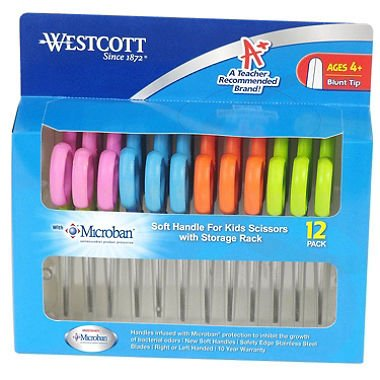 Cheapest Prices! 2 X Westcott Soft Handle Kids Scissors with Anti-microbial Protection, Assorted Col...
