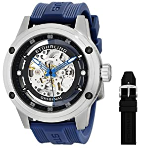 Stuhrling Original Men's 314R.3316C51 Zeppelin 360 Automatic Skeleton Sport Watch with Rubber Strap Set