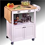 Kitchen Cart with Natural Drop Leaf Top in White Finish