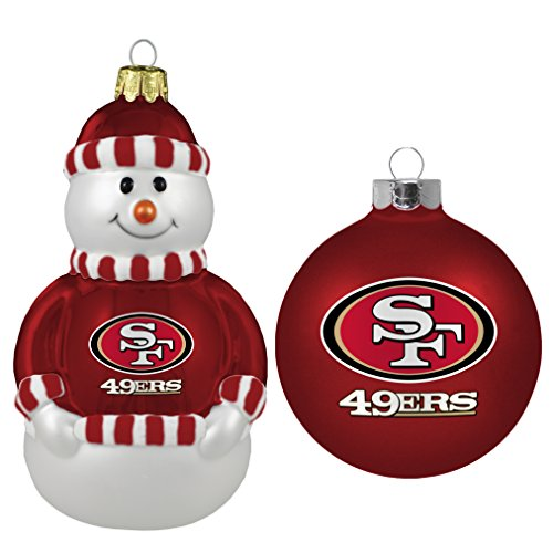 NFL San Francisco 49ers 2-Pack Snowman and Ball Ornament Set