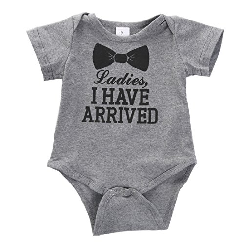 Newborn Baby Boys Girls Bowtie Short Sleeve Romper Bodysuit Playsuit Outfits (3-6 Months, Gray)