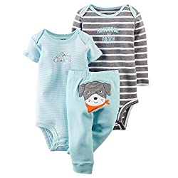 Carters Baby Boys 3-Piece Bodysuit & Pant Set Blue Puppy Preemie