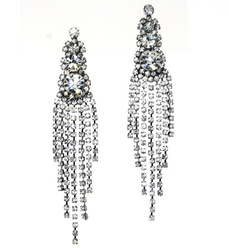 Elegant Diamond Accent Chandelier Crystals Post Earrings
