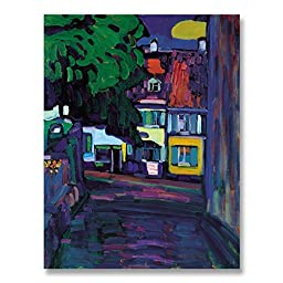 Wassily Kandinsky Houses in Murnau on Obermarkt 1908 Original Architecture Oil Painting Reproduction Hand painted on Gallery Wrapped Canvas - 16X20 inch (41X51 cm)