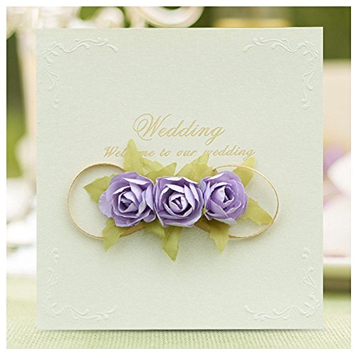 Yunko 12 PCS Wedding Invitations 3D Rose Cards Artifical Flower cards for Marriage Engaement Bridal Envelopes Party Favors Wedding Invitations Set(Purple)