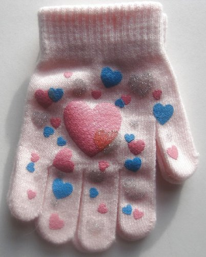 Girl`s Warm Winter Gripper Magic Gloves - One Size - Pink - Great Christmas Gift Idea