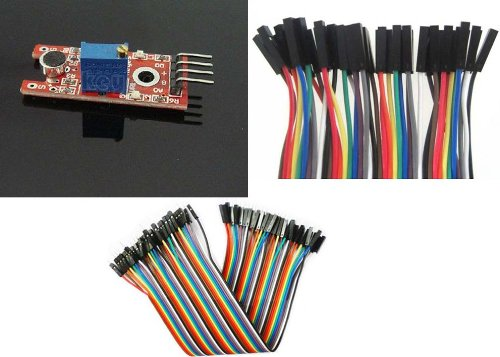 Sound Sensor Detecting Module Electret Microphone For Arduino +40Pcs Dupont Wire Jumper Cables 20Cm 2.54Mm Male To Female 1P-1P For Arduino+New 40Pcs Dupont Wire Cable 1P-1P Pin Connector 2.54Mm 20Cm For Arduino