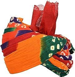 Shahi Pagdi and Safa House Mens Cotton Turban Cloth (Multi-Coloured, 9 Meters)