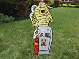 Unique Halloween Lawn Art Figure Mummy Behind Tombstone With 3 Ghosts And Pumpkin Handcrafted & Painted With Great Detail Metal Stakes And Wall Mount Included