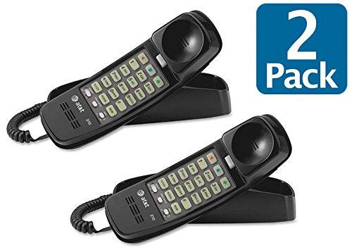 AT&T 210M Trimline Corded Phone, 2 Handset Bundle, Black