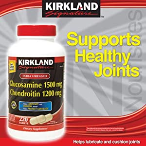 Kirkland Signature Glucosamine HCI 1500mg Chondroitin Sulfate 1200mg 220 Tablets / New Increased Count, (Pack of 2)