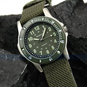 Classical Land Force Colonel Men Military Army Sport Canvas Wrist Quartz Watch