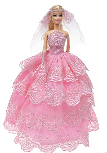 Banana Kong Layered Princess Graceful Wedding Dress For Dolls - 1