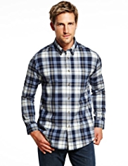 XXXL Blue Harbour Brushed Pure Cotton Basket Weave Checked Shirt