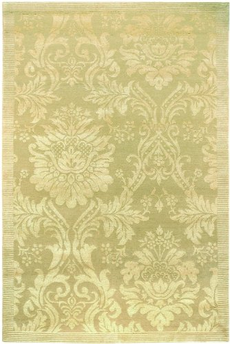 4' x 6' Area Rug Damask Pattern in Gold and Ivory Color