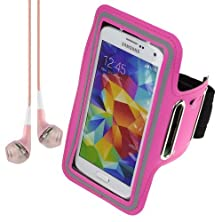 buy Active Sports Armband For Samsung Galaxy S5 S 5 Sv / Htc One M8 - Rose + Vangoddy Headphone With Mic , Pink