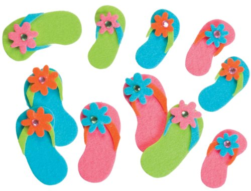 Felties Stickers 20/Pkg-Flip Flops With Gems
