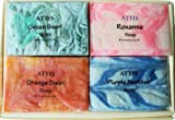 ATTIS Natural Handmade Marble Soaps Selection Gift Set of 4 (set2) Vegan with Coconut Oil, Shea Butter, Cocoa Butter & Aloe Vera gel
