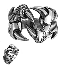 buy Efloral Jewelry Men'S And Women'S Stainless Steel Classic Dragon Animal Claw Zodiac Shaped Men'S Ring, Sliver, Size 8-11