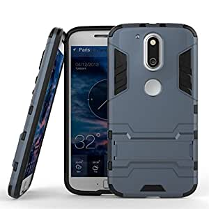 CASSIEY Back Cover Case for Moto G + Plus 4th Gen (G4) (Blue) [Military Grade Version 3.0 With Kick Stand Hybrid Back Cover Case]