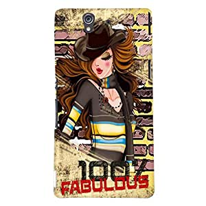 Fuson Fabulous Girl Back Case Cover for SONY XPERIA Z - D3993